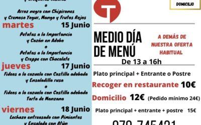 Medio día de Menú (14 al 18 de junio)