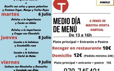 Medio día de Menú (5 al 9 de julio)