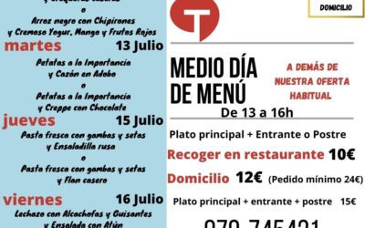 Medio día de Menú (12 al 16 de julio)