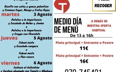Medio Día de Menú (2 al 6 de agosto)